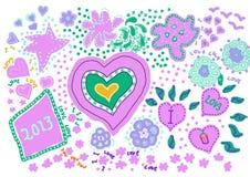 Corações do amor com ano novo (lilac) Imagens de Stock Royalty Free
