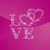 Corações do amor completamente do fundo cor-de-rosa das estrelas ilustração stock