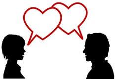 Corações do amor da conversa dos pares da silhueta ilustração royalty free