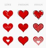 Corações do amor, da paixão e do projeto Fotografia de Stock Royalty Free