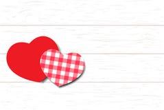 Corações do amor no fundo de madeira da textura Fotografia de Stock Royalty Free
