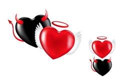 Corações do anjo e do demónio. Vetor Imagem de Stock Royalty Free