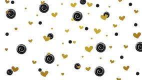 Corações do brilho do ouro e círculos pretos video ilustração royalty free