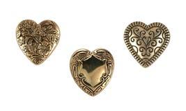 Corações do bronze do vintage fotos de stock