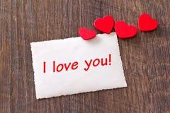 Corações do cartão eu te amo Fotos de Stock
