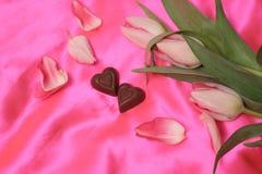 Corações do chocolate Fotografia de Stock
