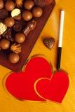 Corações do chocolate Fotos de Stock Royalty Free