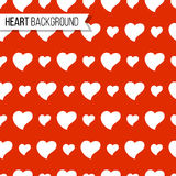 Corações do dia do ` s do Valentim no fundo vermelho brilhante, teste padrão sem emenda Ilustração do vetor Projeto romântico da  Imagens de Stock Royalty Free
