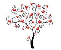 Corações do dia do Valentim na arte de grampo da árvore Fotos de Stock