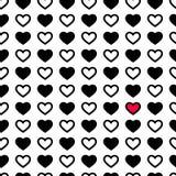 Corações do dia do ` s do Valentim na cor preto e branco, teste padrão sem emenda Ilustração monocromática do vetor Textura român Fotografia de Stock Royalty Free