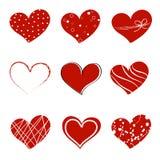 Corações do doodle do dia de são valentim Imagem de Stock Royalty Free