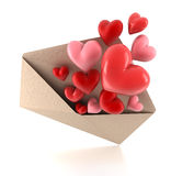 Corações do envelope ilustração royalty free