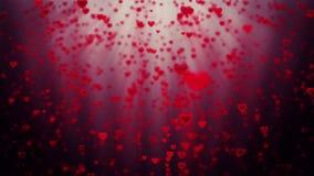Corações do feriado que aumentam, contra o vermelho ilustração stock