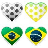 Corações do futebol Fotografia de Stock Royalty Free