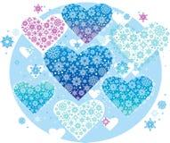 Corações do inverno Fotografia de Stock Royalty Free