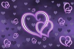 Corações do néon de Svetyaschiisya Imagem de Stock Royalty Free