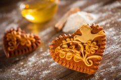 Corações do pão-de-espécie Imagens de Stock