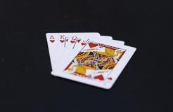 Corações do pôquer de cartões de jogo de J Q K A Foto de Stock Royalty Free