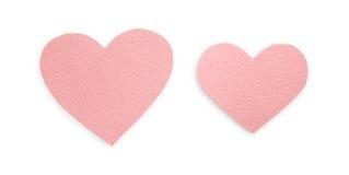 Corações do papel do rosa pastel isolados no fundo branco, dia de são valentim Imagens de Stock