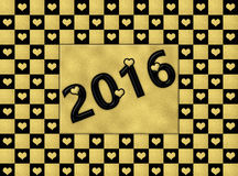 Corações do preto & do ouro do ano novo feliz 2016 Foto de Stock Royalty Free