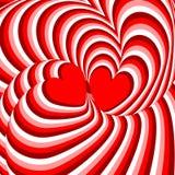 Corações do projeto que torcem o fundo da ilusão do movimento Imagem de Stock