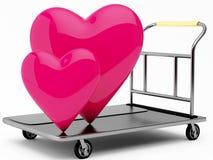 corações do rosa 3D em um trole Foto de Stock Royalty Free