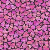 Corações do rosa do kollazha do vide do fone v do chernom do na do serdtsa de Rozovyye em um fundo preto sob a forma de uma colag Fotografia de Stock
