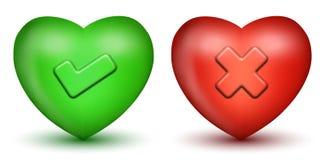 Corações do sinal do tiquetaque & da cruz Fotos de Stock Royalty Free