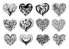 Corações do tatuagem Fotos de Stock Royalty Free