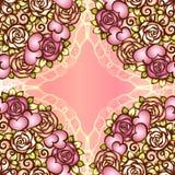 Corações do teste padrão do projeto do Valentim ou do casamento do vintage e rosas e rolos sem emenda Boquet nupcial com o laço q Fotos de Stock Royalty Free