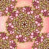 Corações do teste padrão do projeto do Valentim ou do casamento do vintage e rosas e rolos sem emenda Boquet nupcial com o laço q Imagens de Stock Royalty Free