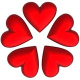 corações do Valentim 3D Fotografia de Stock