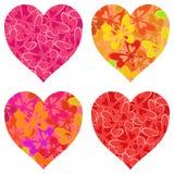 Corações do Valentim com teste padrão de borboletas Fotografia de Stock Royalty Free