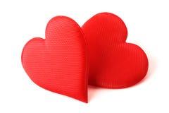 Corações do vermelho da tela fotografia de stock