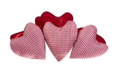 Corações do vermelho de pano Imagens de Stock
