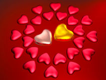 Corações do vermelho e do ouro no vermelho Fotos de Stock