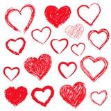 Corações do vetor ajustados Mão desenhada Foto de Stock Royalty Free