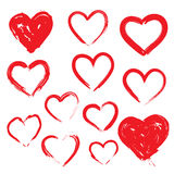 Corações do vetor ajustados Mão desenhada Fotos de Stock Royalty Free