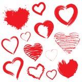 Corações do vetor ajustados. Mão tirada. Imagens de Stock