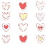 Corações do vetor ajustados no fundo branco Fotos de Stock