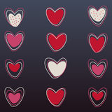 Corações do vetor ajustados no fundo preto Fotografia de Stock Royalty Free