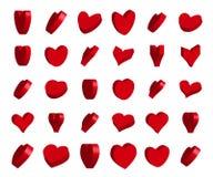 corações do vetor 3d Fotos de Stock