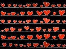 Corações do vetor no preto Foto de Stock Royalty Free