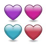 Corações do vetor Os dois superiores são lustrosos e têm os efeitos 3d Os outros dois têm cores e formas de mistura ilustração stock