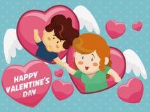 Corações do voo com um par romântico para o dia de Valentim, vetor Foto de Stock Royalty Free