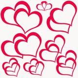 Corações dobro vermelhos Fotografia de Stock