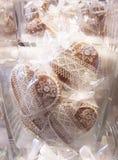 Corações doces do pão-de-espécie foto de stock