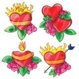 Corações dos desenhos animados com fogo para o projeto Imagem de Stock Royalty Free