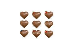 Corações dos doces de chocolate com notas do amor. Vetor   Foto de Stock Royalty Free