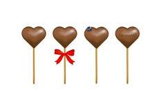 Corações dos doces de chocolate com um billberry. Vetor   Foto de Stock Royalty Free